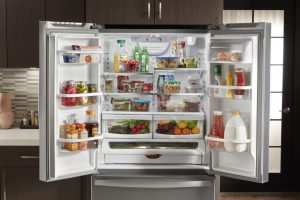 Image of an open refrigerator