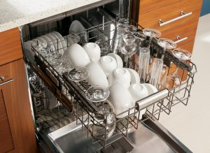 Image of an open dishwasher