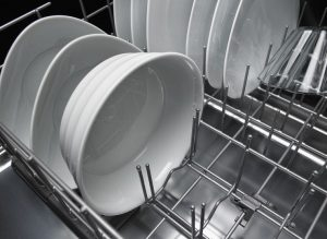 Image of plates inside a dishwasher