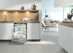 Image of a kitchen with an open dishwasher