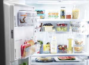 Close up image of an open refrigerator