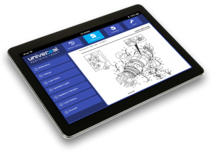 Image of a tablet showing the Universal Appliance Repair app.